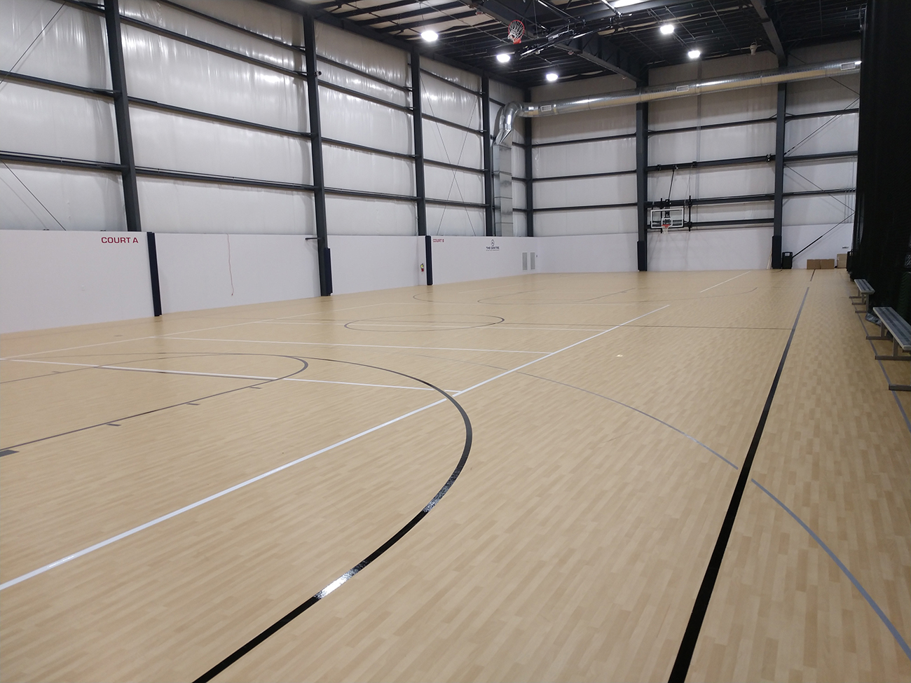 The Centre, retractable basketball net, basketball, flooring