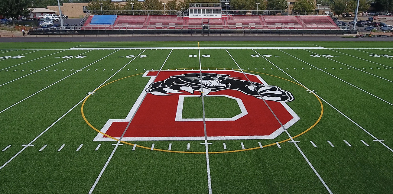 Bloomsburg High School Stadium Field Logo, Custom Logos, Bloomsburg High School Stadium Field, AstroTurf, Panthers, Football, Field Hockey, Construction, Track and Field