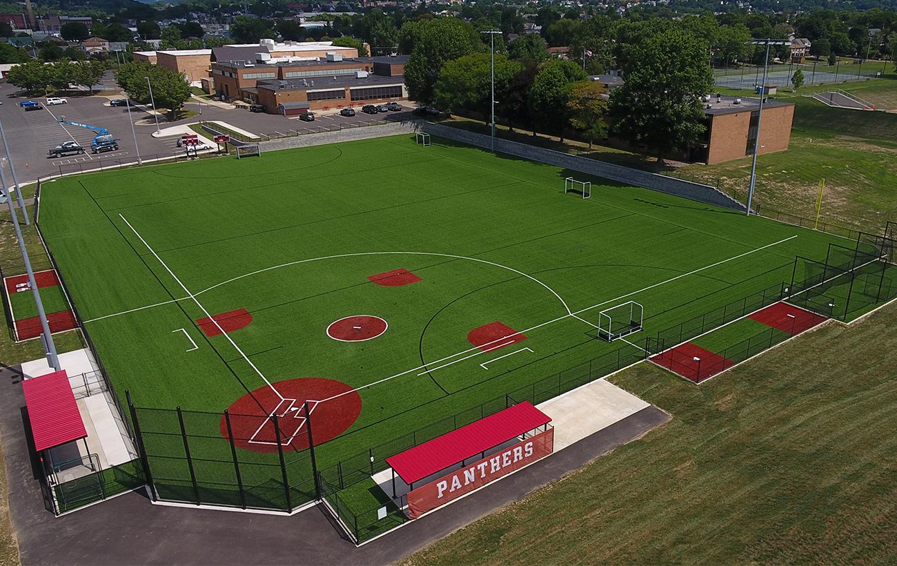 AstroTurfing, Artificial Turf, Panthers, Bloomsburg, Bleachers, Scoreboards, Softball, Softball Mounds