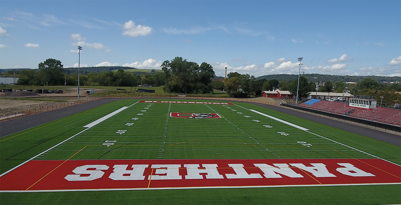 AstroTurfing, Artificial Turf, Panthers, Bloomsburg, Bleachers, Scoreboards