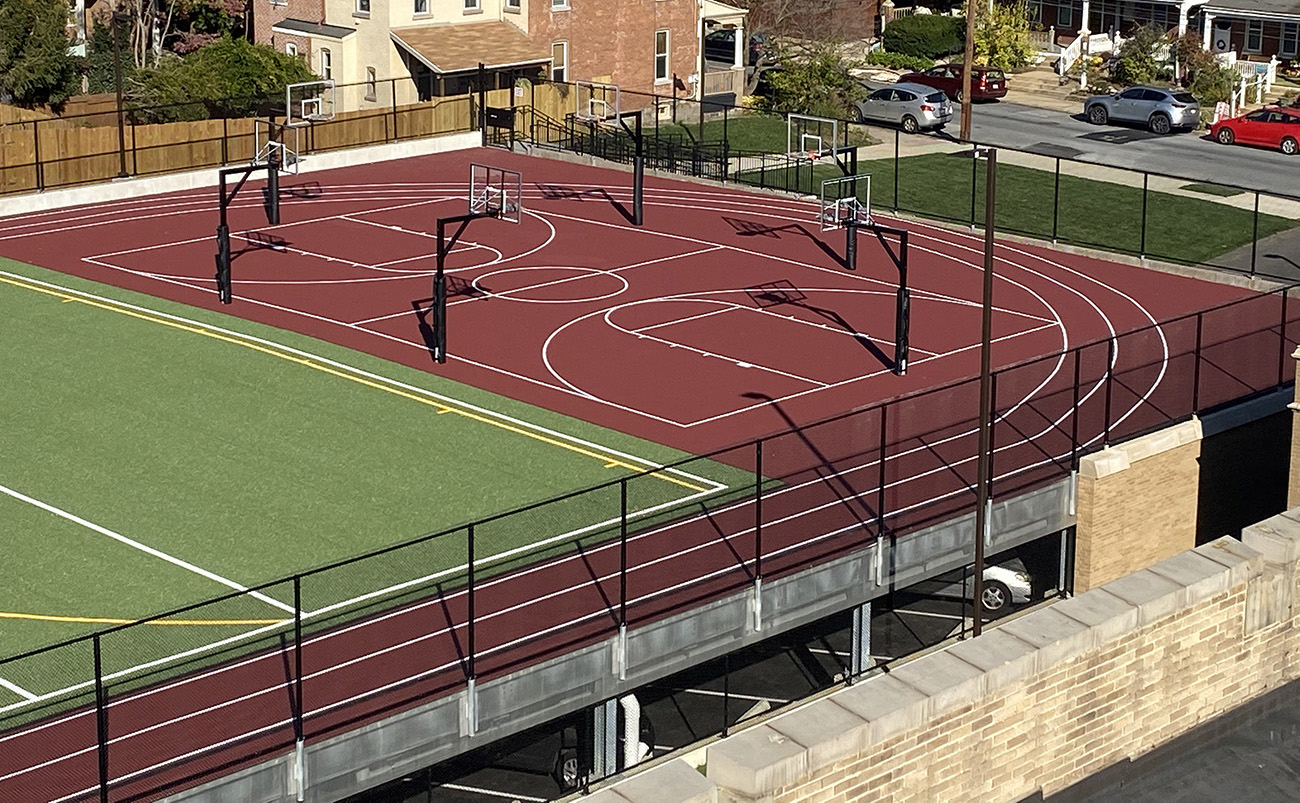Artificial Turf Install, Lines, Running Track, Basketball Hoops, Jaypro Sports, Laykold