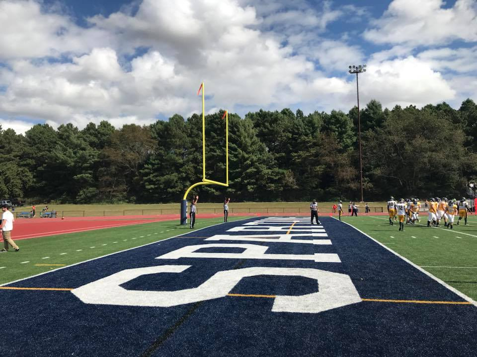 Artificial Turf Football Field with custom end zone lettering