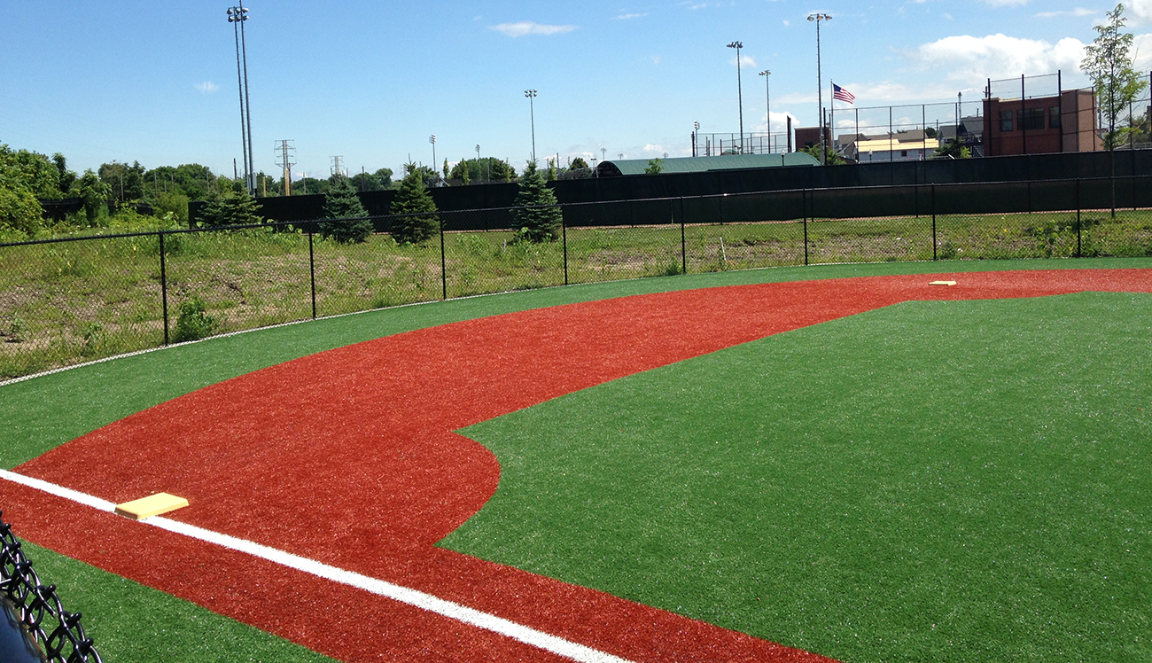 T-ball field on artificial turf grass